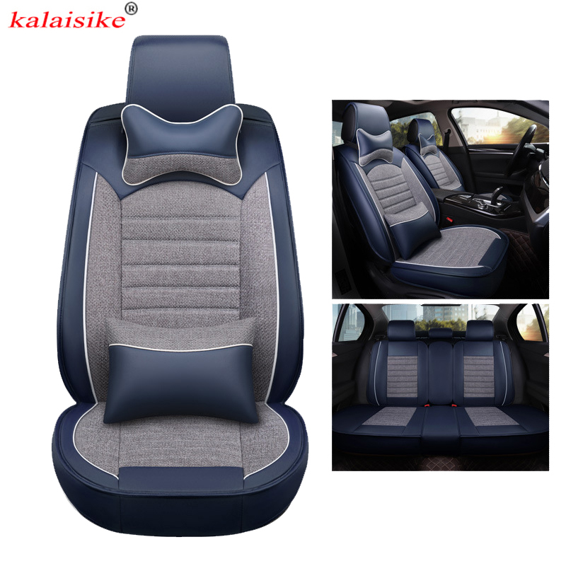 Kalaisike Universal Leather Plus Flax Car Seat Covers For