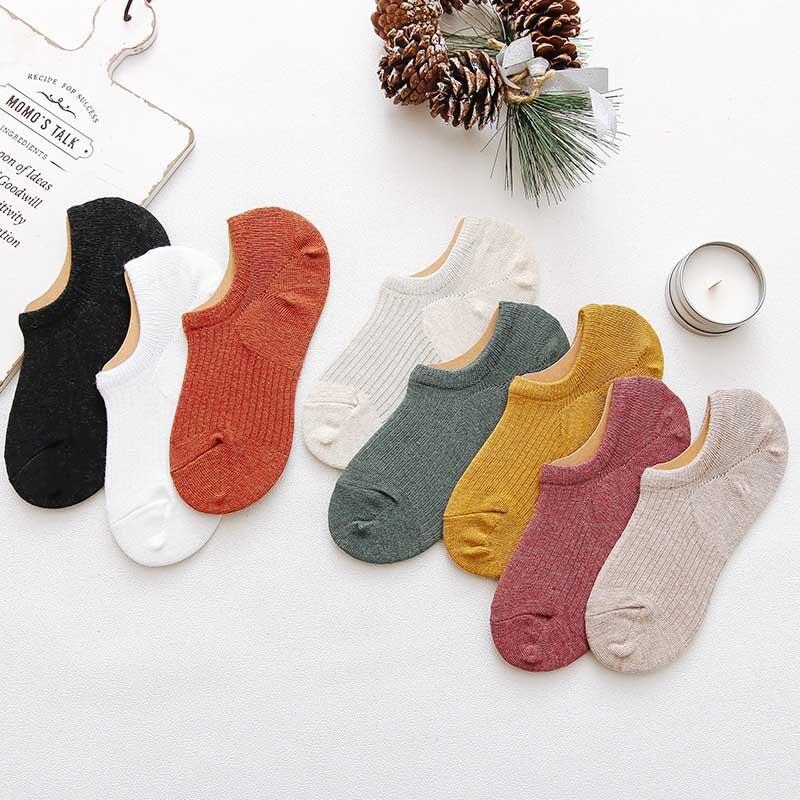 Leisure Minimalist Vertical Stripe Short Sock Shallow Mouth Breathable Comfortable Women Cotton Nonslip Short Sock Hosiery