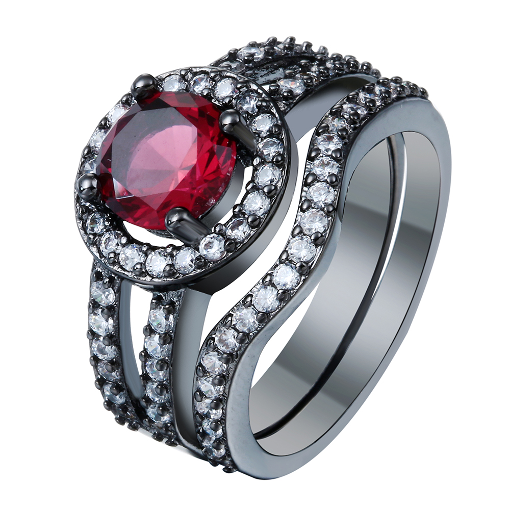 Роскошный красный черный пистолет обещание Кольца комплекты новые женские украшения подарок принцессы красный CZ Циркон Свадебные Обручен...