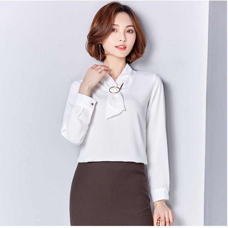 c172c1a3ff2786 2017 new Satin Shirt Women Long sleeve peter pan collar silk Blouses women  work wear uniform office OL shirt simple body tops-in Blouses   Shirts from  ...
