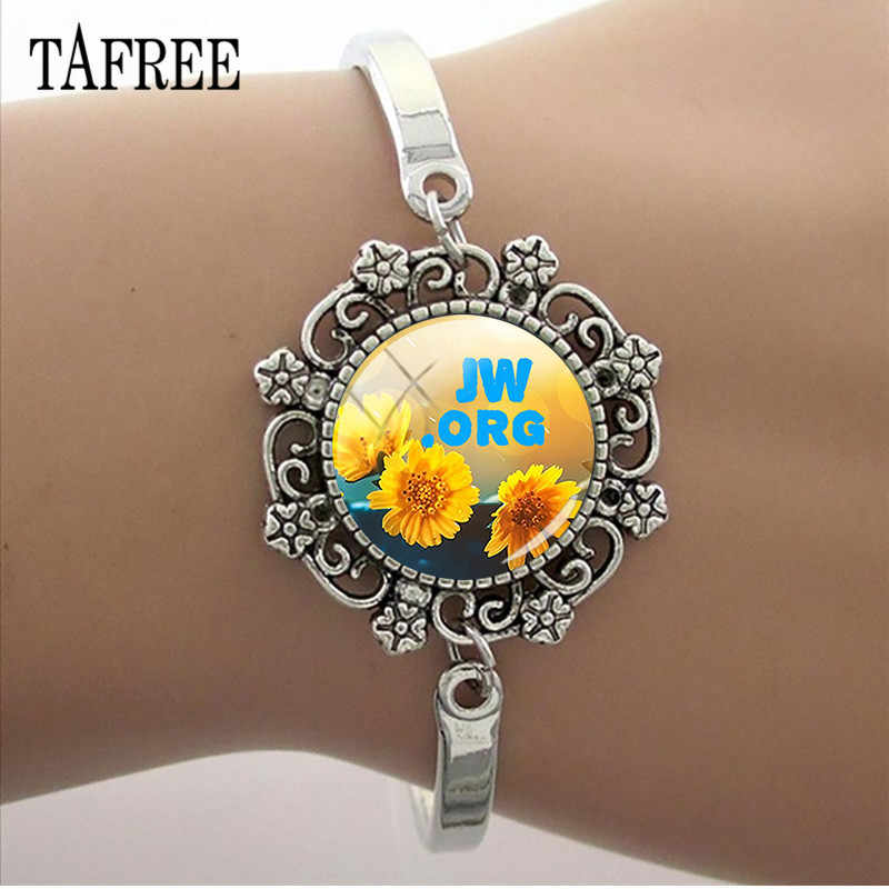 TAFREE Lace Charm JW.ORG Bracelet 15MM Glass Cabochon Photo Dome Chain Bangle For Woman Men Party Jewelry Gift JW23