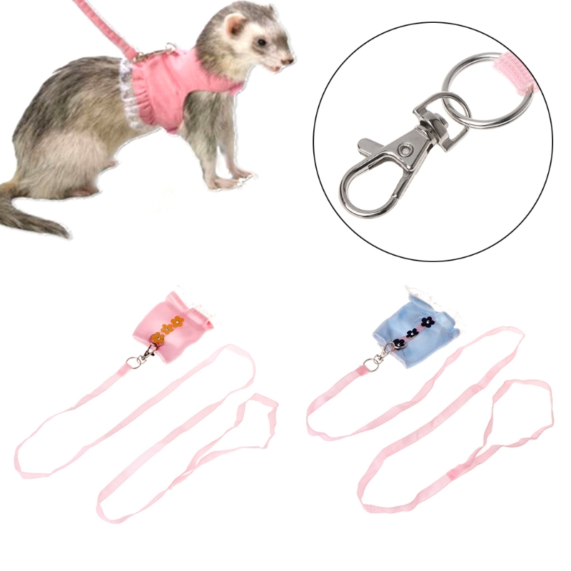 Pet Harness Small Animals Rabbit Ferret Guniea Pig Vest Leash Adjustable Strap Collars, Harnesses & Leashes For Small Animal
