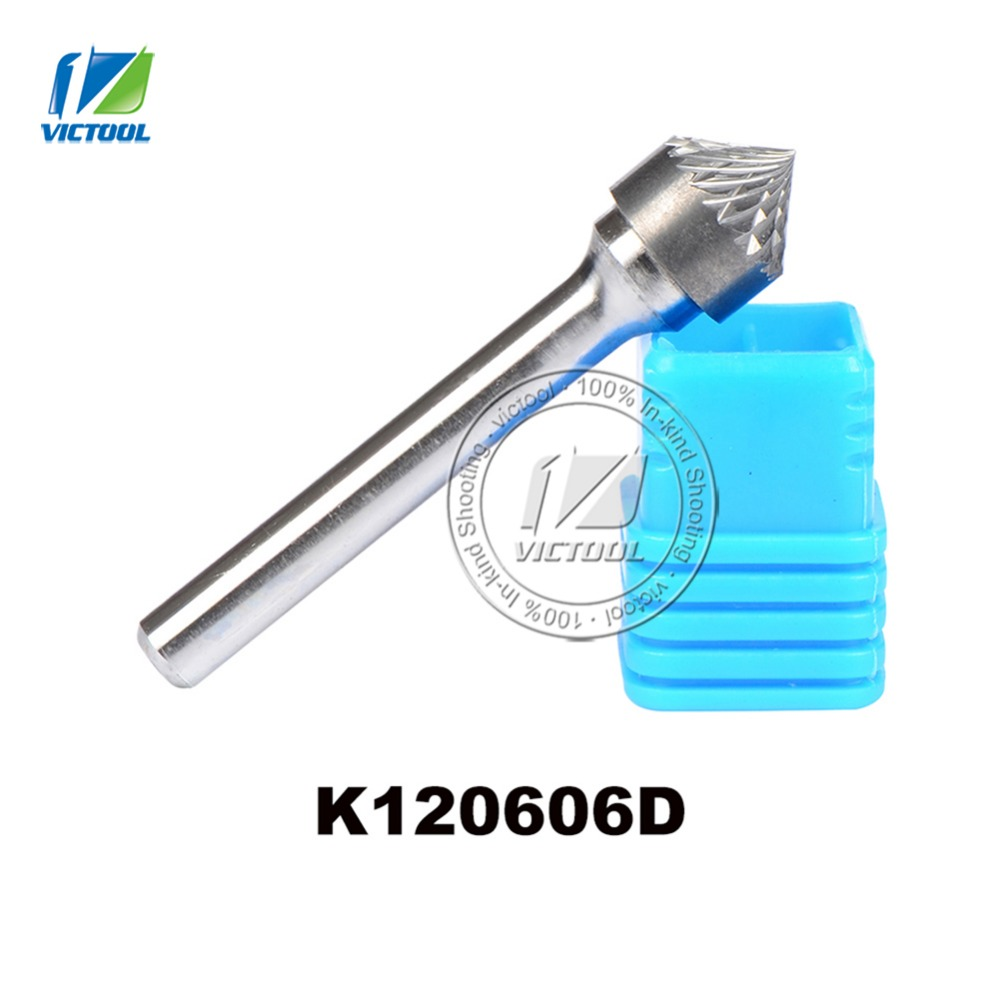 2pcs/lot K type cone 90 degree 12*6mm rotary burr file cutter grinding and abrasive tools K120606 6mm shank milling tools 2pcs 90 degree up