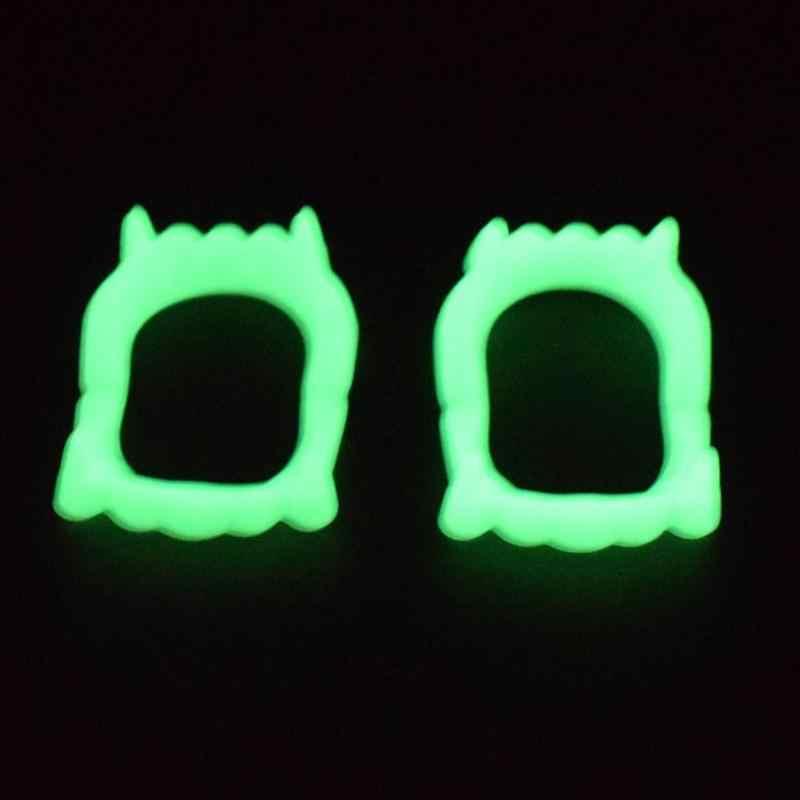 Divertidos dientes de dentadura luminosos bromas prácticas interesantes broma Horror diversión sorpresa desagradable novedad Gadgets Halloween Props limpio de moda