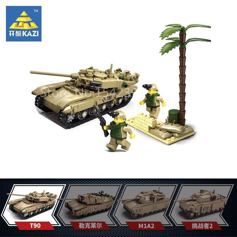 KAZI Military Series T-90 Main Battle Tank DIY Model Building Kits Brick Educational Children Toys Blocks Festival Friends Gifts