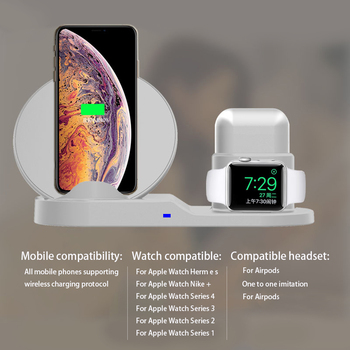 QI Wireless Charger Stand For iPhone 8Plus X XS Max XR Wireless Charging Dock Station 3 In 1 For Apple AirPods Apple Watch 2 3 4 6