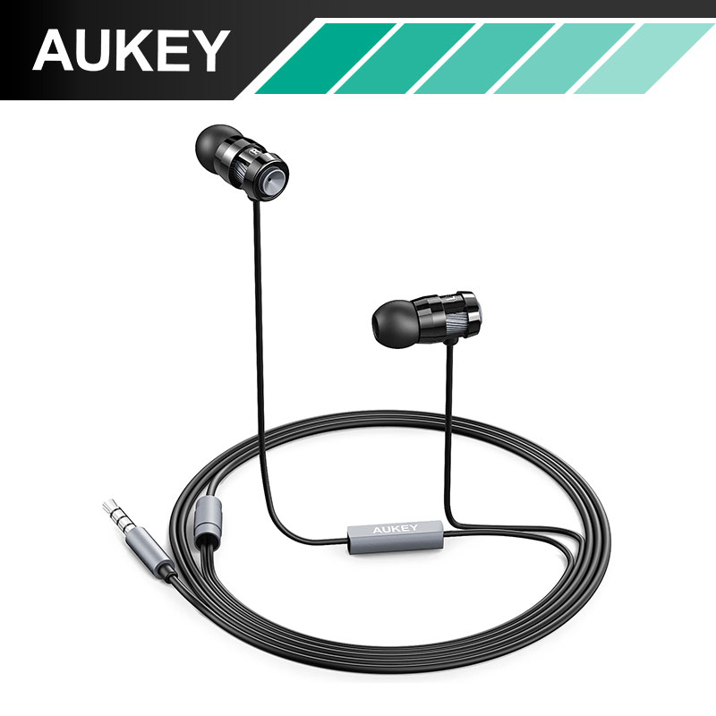 AUKEY 2016 In-ear Headphones Super Bass Stereo Earphone with Microphone Metal 3.5mm for iPhone /Samsung Mobile Phone Go pro MP3