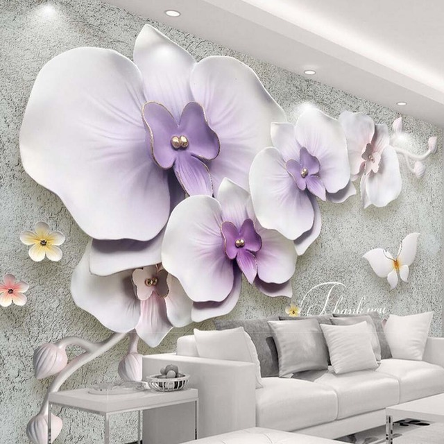 3D Embossed Moth Orchid Butterfly Wall Mural Photo Wallpaper Home