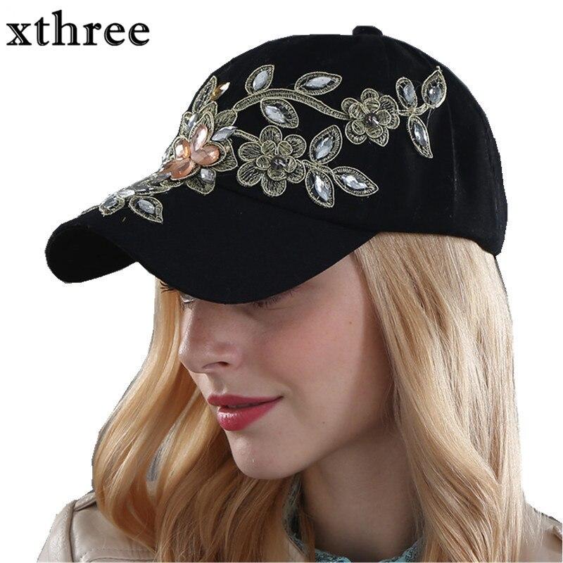 Xthree großhandel herbst mode Denim Baseball kappe Sport Hut kappe leinwand Snapback kappen hut für frauen gute qualität