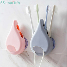 Creative Punch-Free Suction Cup Toothbrush Rack Wash Toothpaste Wall Hanging Plastic Holder Bathroom