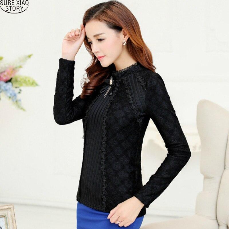 984cb86f10 2017 New arrival elegant Fall Fashion Ladies Lace Blouse Long Sleeve Female  Chiffon Lace Tops Women Plus Size Shirts 81G 25