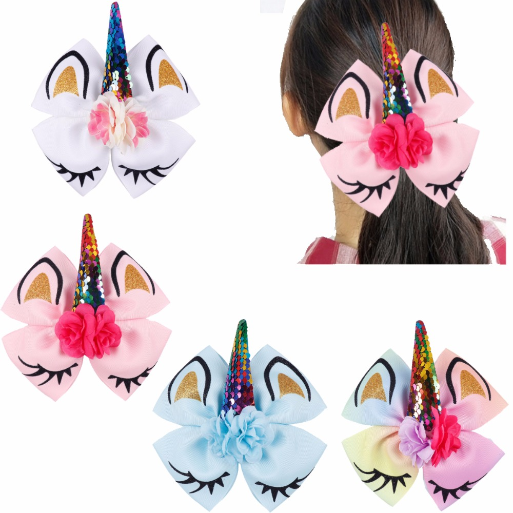 Hot Sale 4pcs Girls Large Hair Bows With Clips 6 Unicorn Bows