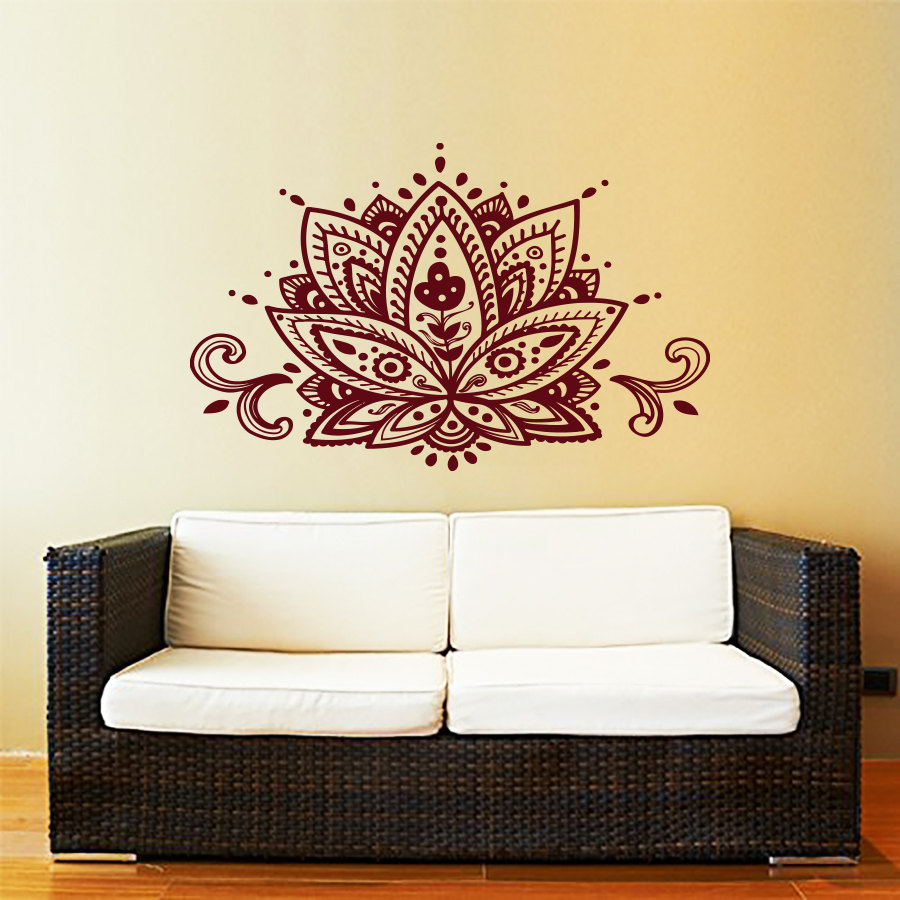 Lotus flower wall decal yoga studio vinyl sticker decals for Stickers decorativos