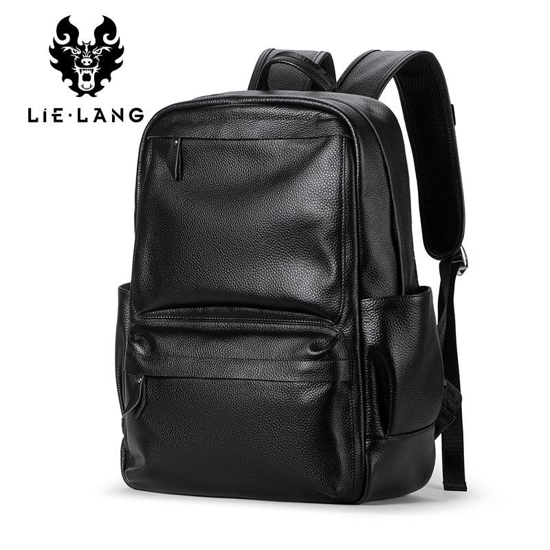 Lielang Men's Genuine Cow Leather Backpack Laptop Male School Bag High Quality Men Daypacks Korea Style Casual Travel Bag