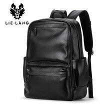 LIELANG mochila de piel de vaca auténtica para hombre, bolso escolar para ordenador portátil, de viaje, informal, de alta calidad