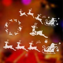 2017 Окна Декор Оленей Сани рождественские украшения для дома навидад стены наклейки новый год подарок наклейка роспись для детей магазин подарок
