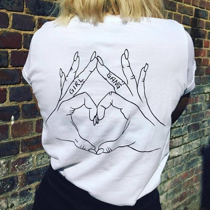 Girl Gang Love Hand Sign Back Printed Feminism T Shirt ...