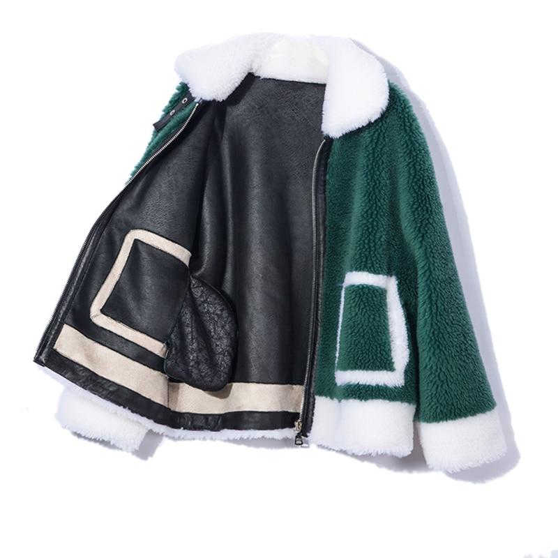 Casual Kaki rose 2018 Tonte dark D'hiver Streetwear Chaud Doublure Nouvelle Green Épais Fourrure Manteau Femme Réel De Veste Moutons Marque Daim Des En qqHwBa