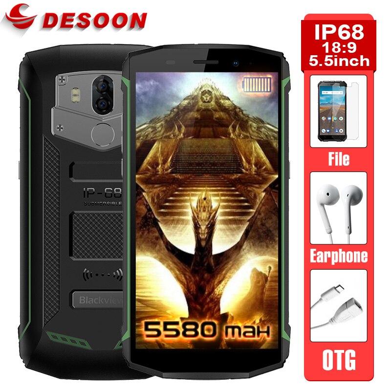 Blackview Bv5800 nouveauté IP68 5580 mAh grande batterie 4G 18:9 Smartphone MT6739 2 GB RAM 16 GB ROM 13MP NFC téléphone Mobile ID tactile