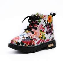 Kids Girls Boots 2019 Fashion Elegant Charming Floral Flower Print PU Leather Baby Martin Boots Casual Waterproof Shoes(China)