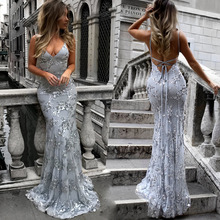 Women Sexy V-neck Strap Sequin Evening Party Dress Women Sexy Backless Elegant Women lace Maxi Long Dress Fashion Lady Vestidos