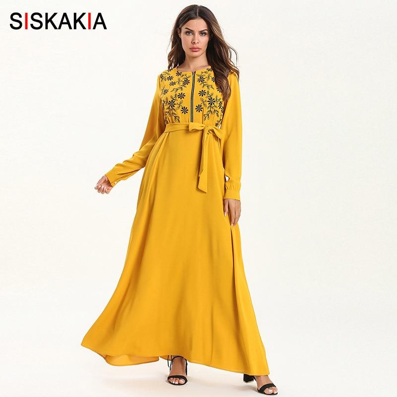 Siskakia Breast Feeding Long Dress Elegant Women Ethnic Chic Floral Embroidery Maxi Dresses 2019 Muslim Ramadan
