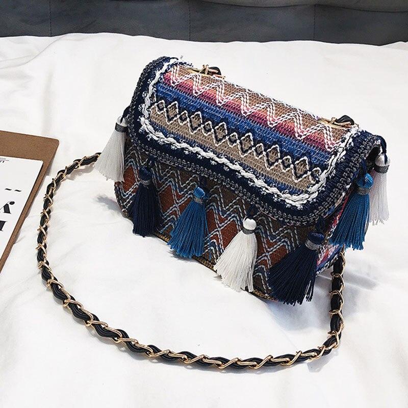 New Women Tassel Fashion Straw Bag INS Popular Female Summer Handbag Chains Lady Casual Shoulder Bag Beach Knit Crossbody SS3307 (1)