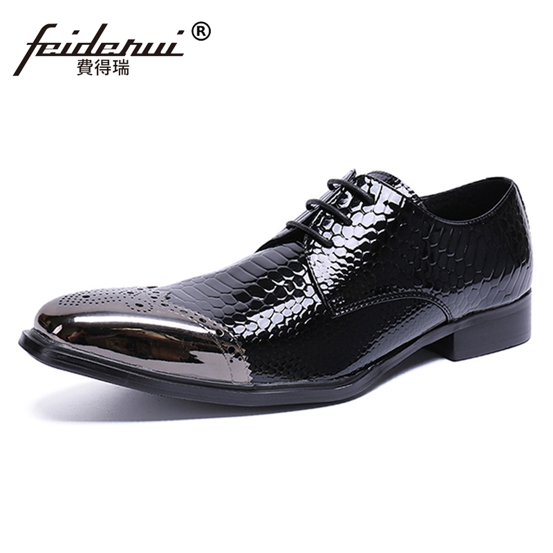 Plus Size Pointed Toe Derby Man Brogue Footwear British Designer Patent Leather Wedding Party Men's Alligator Runway Shoes SL475 plus size fashion pointed toe derby man runway footwear italian designer patent leather wedding party men s runway shoes sl435