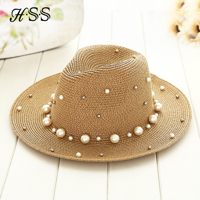 Perla británica del verano que rebordea plana sombrero de paja shading  señora moda playa sombrero del 4dd44c62ec0