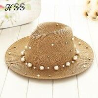 Estate Britannico perla borda piatto tesa cappello di paglia ombreggiatura cappello  Signora cappello della spiaggia moda acfa2e490a98