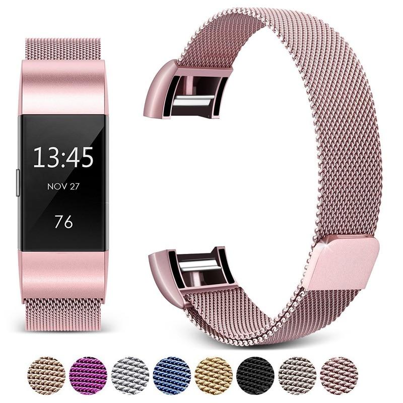 Pour Fitbit Charge 2 Bracelet en métal à 3 bandes sans vis Bracelet magnétique en acier inoxydable pour Fitbit Charge2 3 bracelets de remplacement