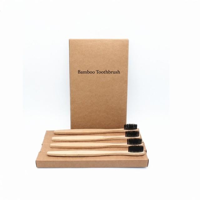4 piezas coloridas cerdas cabeza cepillo de dientes de bambú al por mayor entorno madera Arco Iris cepillo de dientes de bambú cuidado bucal cerdas suaves