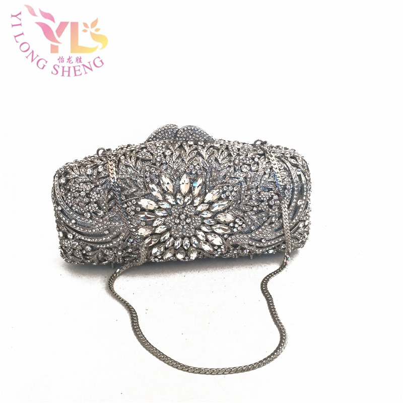 Silver Women Clutch Bags 2017 Crystal Silver Metal Bridal Evening purse clutch bag case IN FREE SHIPMENT YLS-F30 niko black 21 23 26 ukulele bag silver edge nylon soprano concert tenor soft case gig bag 5mm thick sponge