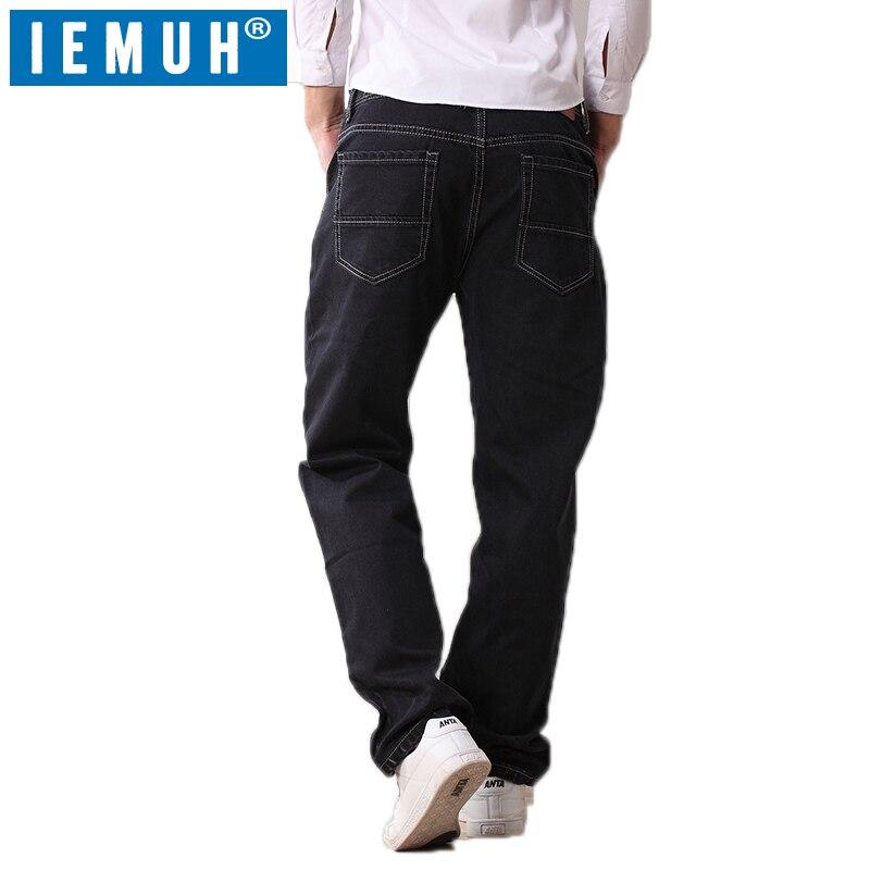Iemuh زائد حجم الجينز الرجل الجينز عارضة منتصف الخصر فضفاض السراويل الطويلة الذكور الصلبة مستقيم الجينز للرجال الكلاسيكية 28 48-في جينز من ملابس الرجال على  مجموعة 3