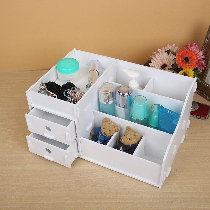 Waterproof Wood Storage Box: Desktop Drawer Makeup Organizer Cosmetic Storage Box Wood