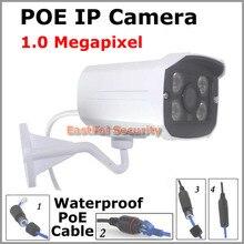 1.0MP POE IP Cámara de INFRARROJOS de visión nocturna Impermeable al aire libre 720 P Bala sistema de Vigilancia onvif P2P Cámara de visión IP por IE o móvil