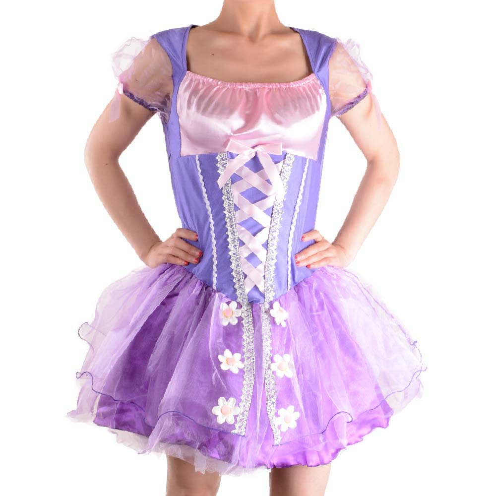 2018 Nice Purple Dress Adult Rapunzel Cosplay Costume Women Tangled Rapunzel Princess Dresses Halloween Party Free Shipping To Have A Unique National Style Women's Costumes