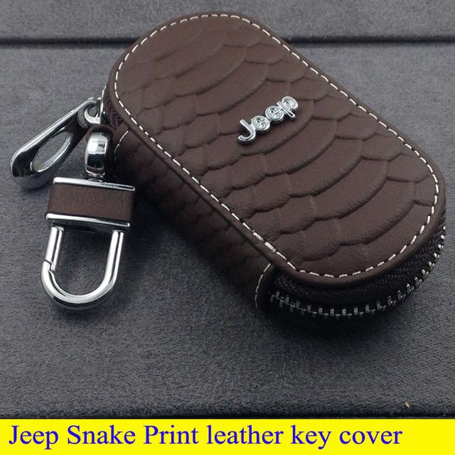 Piezas de automóviles de alta calidad de cuero cubierta de la llave para commander brújula grand cherokee wrangler serpiente imprimir estilo llavero car styling