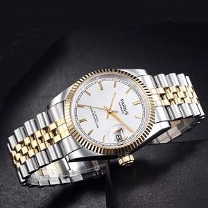 Image 4 - Parnis reloj mecánico automático para hombre y mujer, pulsera de acero inoxidable con diamantes, elegante, dorado, 2019