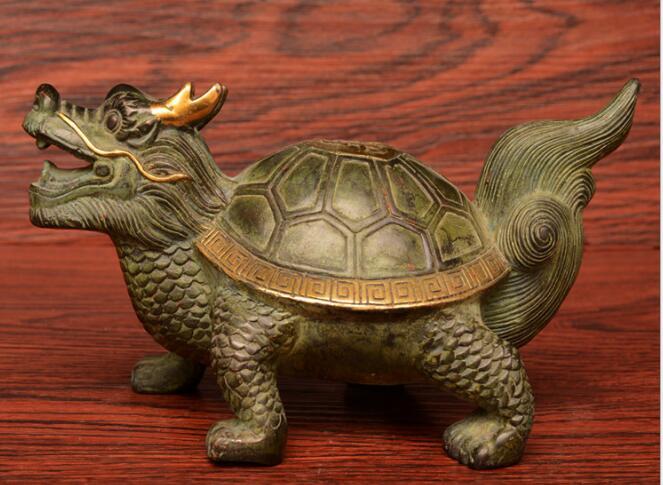 Ornements de noël + statue de tortue de Dragon en or sculpté en laiton pur, tortue de longévité longue 25 cm livraison gratuite