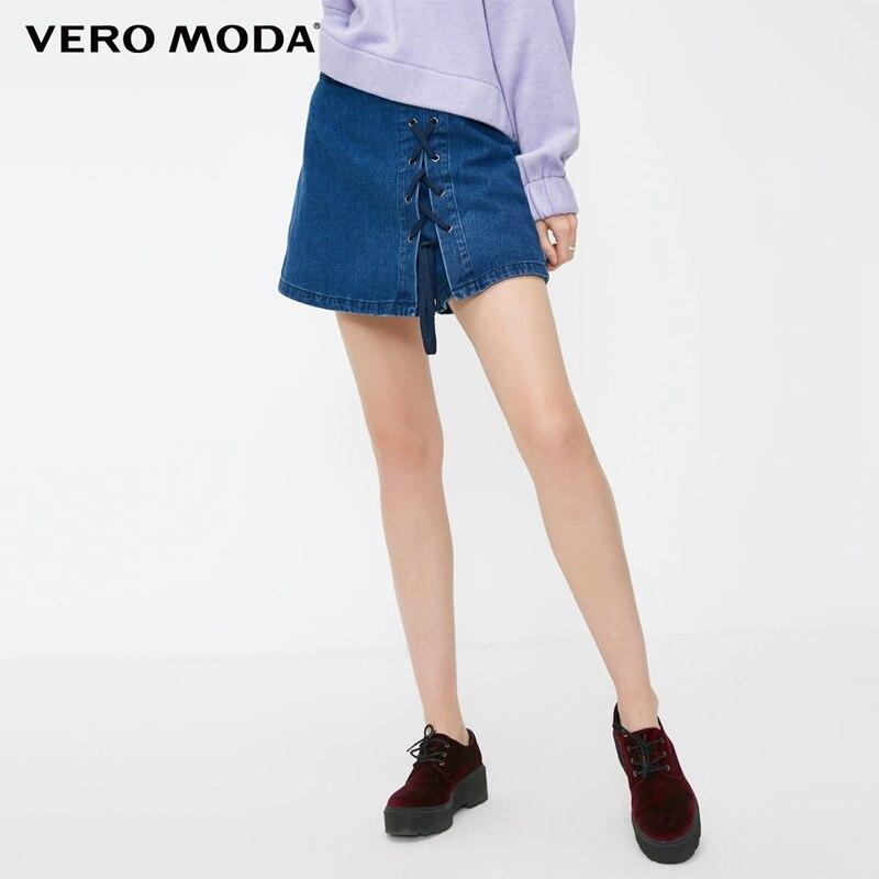 Vero Moda 100% Cotton Lace-up Denim Skirt Shorts Woman   318343508