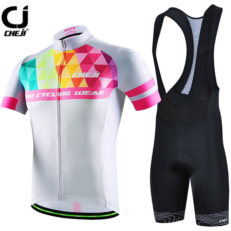 2017 CHEJI White Cycling Jersey Set Bike clothing Ropa Ciclismo MTB bicycle jersey Padded Bib Shorts suit Riding Shirt Maillot cheji bicycle cycling water resistant lycra warm shoes cover black white size 42