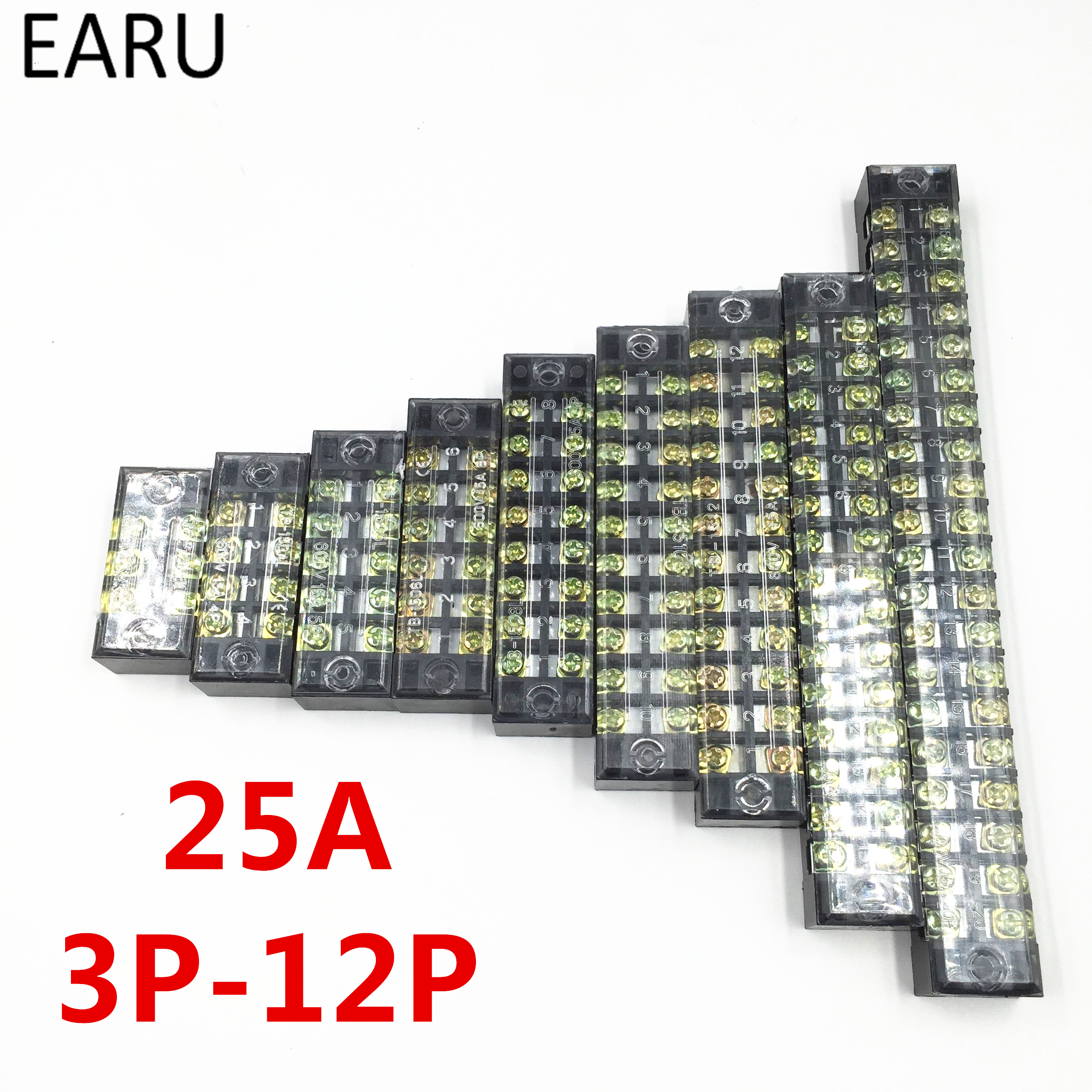 1pc 25A 600V Dual Row Barrier Screw Terminal Block Wire Connector TB Series 3 4 5 6 8 10 12 Positions Ways Factory Wholesale 5 pcs 600v 45a 4 positions 4p dual rows covered barrier screw terminal block