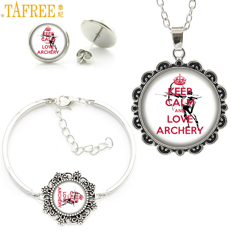 TAFREE fashion sports style keep calm and love archery statement necklace earrings bracelet women jewlery sets club gifts SP294