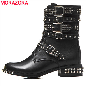 Image 1 - MORAZORA 2020 plus size 33 43 womens boots genuine leather round toe autumn winter Motorcycle boots black rivet ankle booties