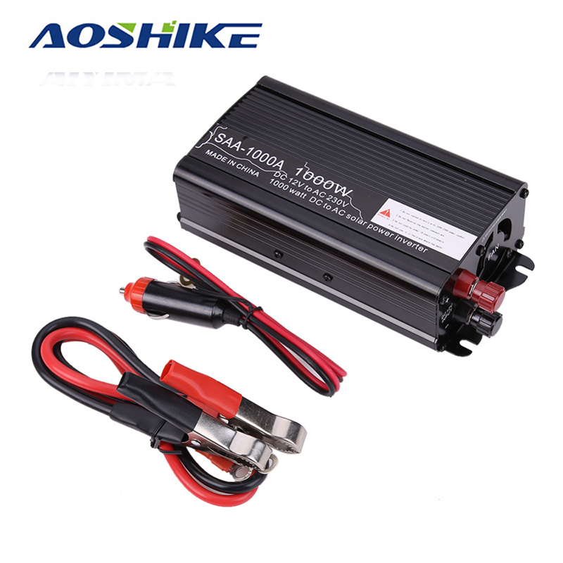 Aoshike 1000w Inverter board Modified Sine Wave Inverter DC 12V to 110v 220V AC Car Converter inverters Adapter aoshike usb 1500w watt dc 12v to ac 220v