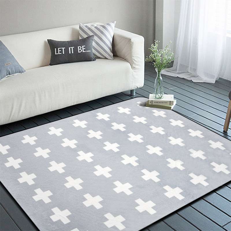 Simple grey and black cross carpets living room coffee ...