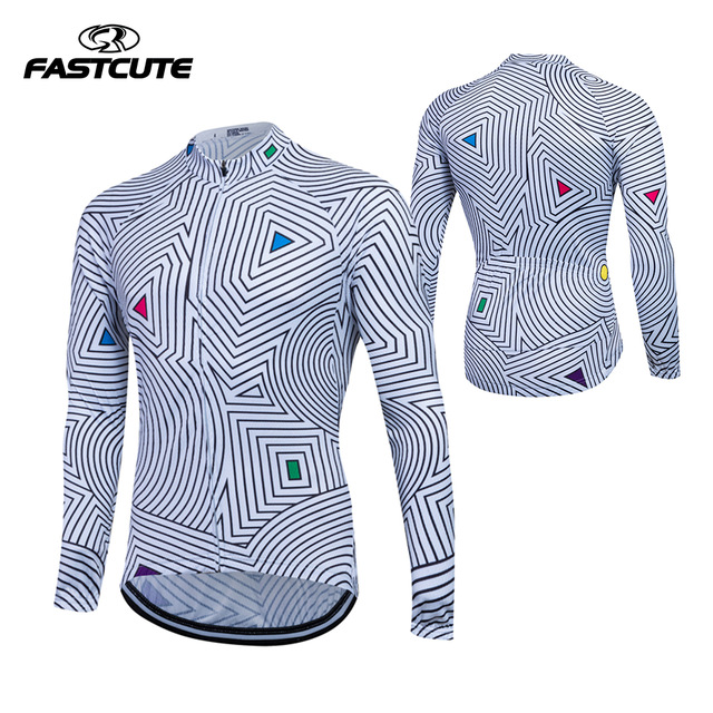 Fualrny 100% POLYESTER Mens Cycling Jersey Long Sleeve Outdoor Sports Bicycle Cycle Clothing Quk Dry Riding Clothes
