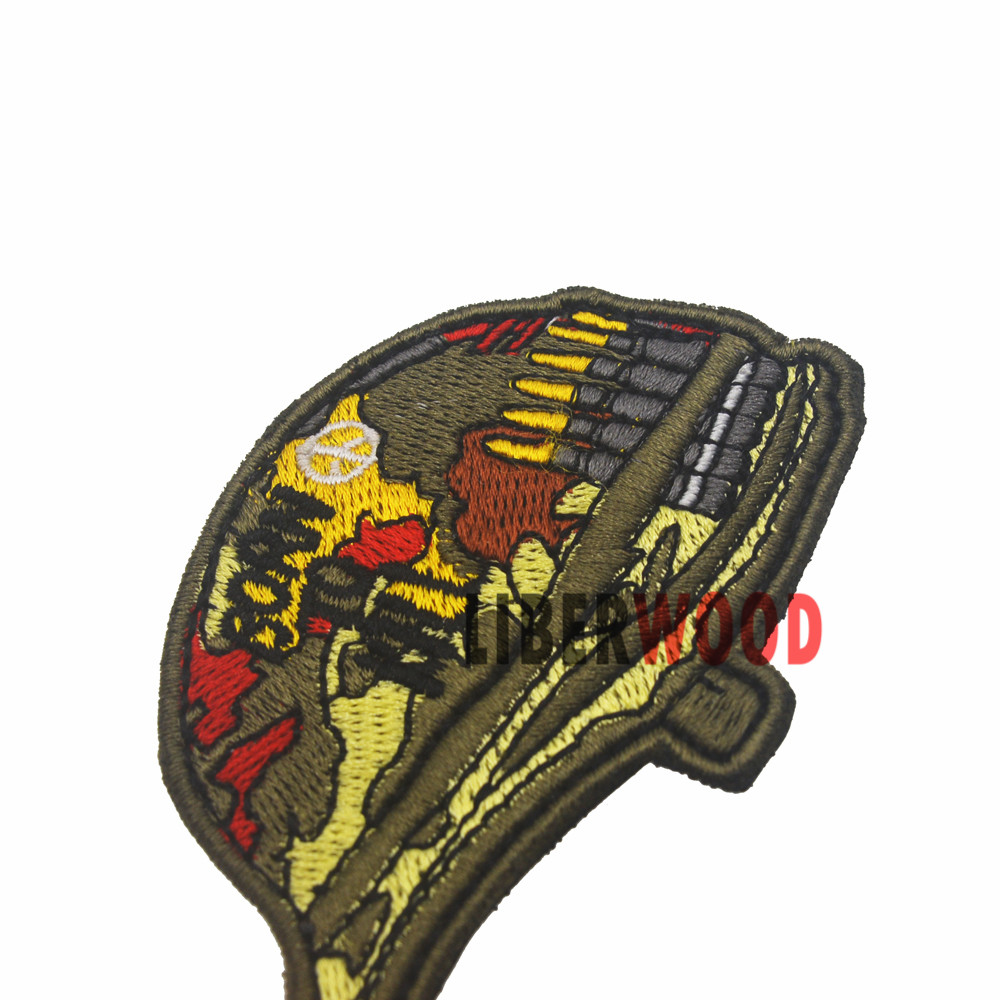 MARINES COMBAT VETERAN Brown on Gold Iron on 3 Patches Set for Biker Jacket