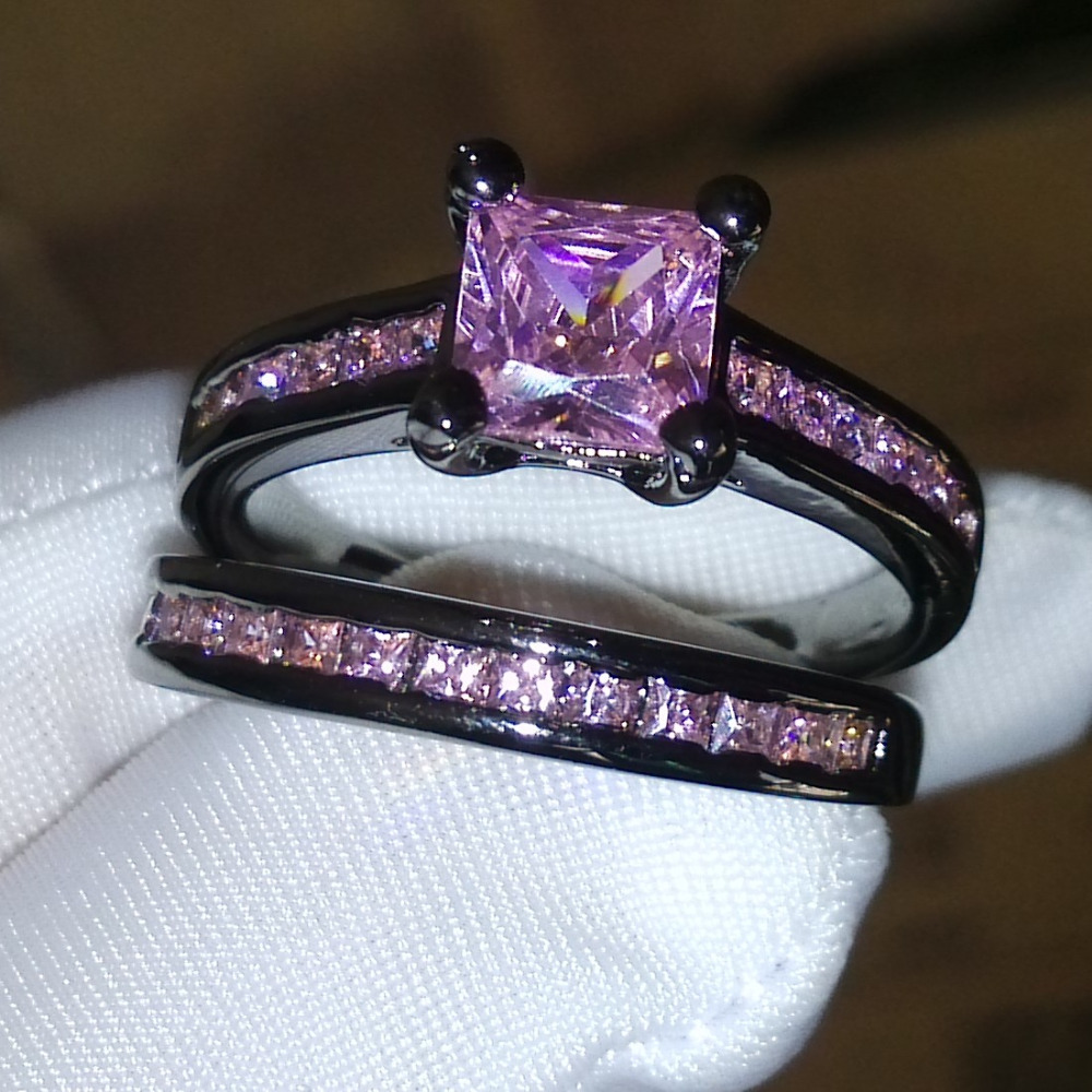 Black And Pink Wedding Ring Sets | Choucong Princess Pink Stone 5a Zircon Stone 10kt Black Gold Filled